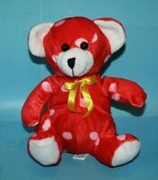 "Puli Intl Teddy Bear 8"" Red Plush Pink Polka Dot Yellow Bow Soft Toy Stuffed"