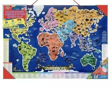 New T.S. Shure - Wooden Magnetic Animals of the World Map Puzzle Pictures Match