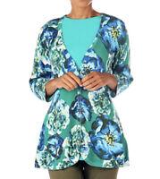 NEW Isaac Mizrahi Live! Floral Curved Hem Cardigan Sweater Size Large 1J