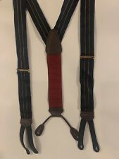 TRAFALGAR Mens Suspenders Navy Blue Stripe Leather Tabs Burgundy Adjustable
