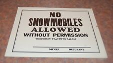 1970s No Snowmobiles Allowed Cardboard Sign NOS never been used
