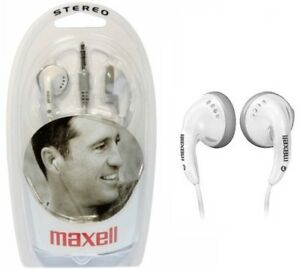 MAXELL EARPHONES White Color EB-98 Headphones New Sealed Box