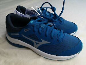 Mizuno Junior Blue Wave Rider 24 Trainers Running Shoes Size UK 5 EU 38 - New