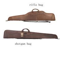 Tourbon Genuine Leather Rifle/Shotgun Case Gun Slip Bag Scoped Carrying Shooting