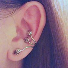 2Pcs Trendy Non Piercing Silver Plated Leaf Clip On Ear Cuff Earring Wrap Punk