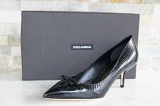 Dolce & Gabbana D&G Gr 38,5 Pumps Schlangenleder Schuhe Pitone black neu UVP675€