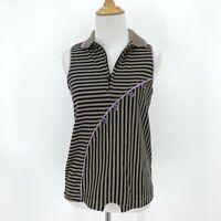 Jamie Sadock Golf Sleeveless Polo Women's Size S 1/4 Zip Stripe Asymmetrical Top