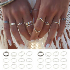 12 Pcs/set Silver Midi Finger Ring Set Vintage Punk Boho Knuckle Rings Jewelry