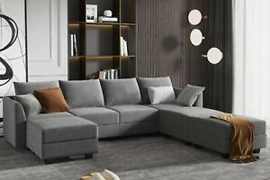 HONBAY Modular Sectional Sofa U Shaped Couch Reversible Sofa Couch with Stora...