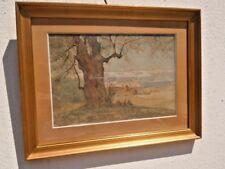 Tableau aquarelle paysage cap Antibes signé Mouren Henri Laurent