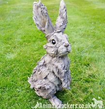 More details for large 41cm wood effect rabbit ornament decoration sculpture bunny lover gift