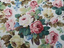 Sanderson Curtain Fabric Chelsea 1.2m White/pink Cotton Floral Design 120cm