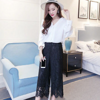 Womens Lace Wide Leg Casual Pants Loose High Waist Black White Culottes Fashion