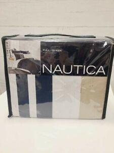 Nautica Full/ Queen Size APORT Duvet Cover 100% Cotton