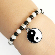 Round Crystal Yin Yang Charm Bracelet Black and White Beads with Elastic Cord