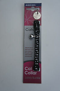 Ancol Cat Safety Clip Collar Snap Buckle Black with White Dots and