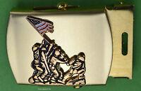 Iwi Jima MARINE CORPS Black Belt & Brass Buckle USMC