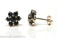 9ct Gold Sapphire Cluster Studs earrings Gift Boxed Made in UK Xmas Christmas