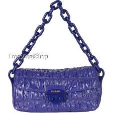Authentic PRADA Vernice Purple Ruched Patent Leather Lilac Baguette Bag Purse LE