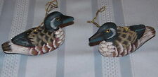 3 Lot Hanging  Duck Ornaments - Wood - Approximately 3 Inches long