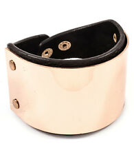 LUSH STATEMENT Gold Plate & Black Leather Cuff 6 inch Bracelet By Rocks Boutique