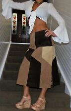 BEBE designer REAL SUEDE LEATHER PATCHWORK SKIRT 8 10 brown camel beige NWT new