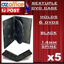 5 X Premium Sextuple Black DVD Case Holds 6 Disc Six DVD Cover 14mm Pivot Tray