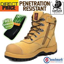 Canura Safety Work Boots Side Zip Anti Penetration 8605 Steel Toe Cap Press Stud