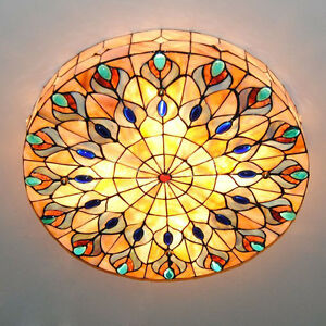 Tiffany Style Stained Glass Peacock Ceiling Lighting Lamp Fixture Flush Mount