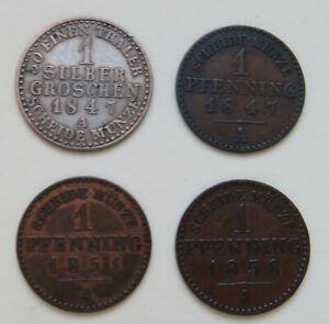 Lippe, Silbergroschen 1847 A, Pfennig 1847 A, 1851 A, 1858 A