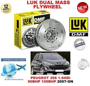 FOR PEUGEOT 308 1.6 HDi 90BHP 109BHP 2007-ON ORIGINAL LUK DMF DUAL MASS FLYWHEEL