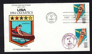 1984 #2085 20c Los Angeles Olympics Kayak Collins Hand Painted FDC