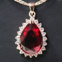 Red Ruby Teardrop Pear Diamond Halo Pendant Chain Necklace 14K Rose Gold Plated