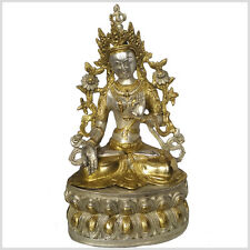 Weiße Tara 37cm 3,7KG Sitatara Buddha Silber Messing Tibet Nepal Indien