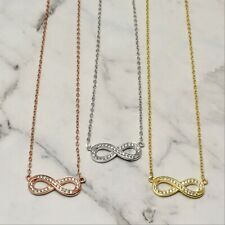 925 Sterling Silver Infinity Eternity Symbol CZ Chain Necklace Rosegold Gold