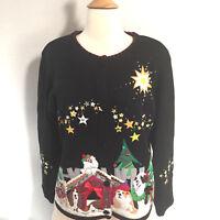 Vintage Arriviste Christmas Sweater Dogs Ugly Large Hand Appliqued