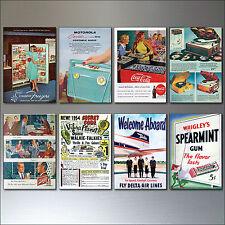 8 Vintage Retro Revista anuncio 1950 reproducción Imanes del refrigerador Shabby Chic