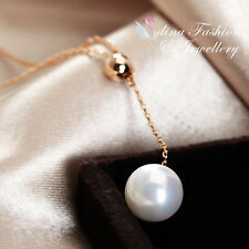 18K Rose Gold Plated Gorgeous Simulated Pearl Drop Bead Lariat Necklace