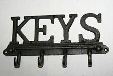 'KEYS' 4 Key Hook / Holder - Cast Iron Design Key Wall Rack