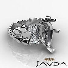 Natural Diamond Engagement Ring 18k White Gold 1Ct Heart & Pear Shape Semi Mount