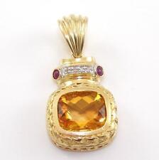 14K Yellow Gold Nataural Diamond Ruby Orange Citrine Enhancer Pendant  ZQ2
