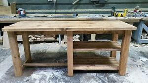 NEW SOLID WOOD RUSTIC CHUNKY PLANK BREAKFAST BAR KITCHEN ISLAND MADE TO MEASURE