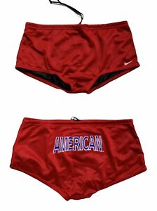 Nike Mens Sz 30 Swim Drag Suit Reversible AMERICAN Mesh Short Red / Black Brief