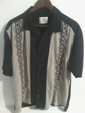 Paradise by Axis Men's Black and Tan Hawaiian Bowling Shirt Short Sleeve Size L