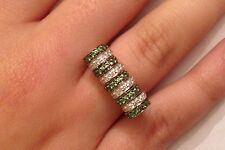 Ring Size 6 1/4 - 10 Grams 18k White Gold Sonia B Diamond Tsavorite Spin