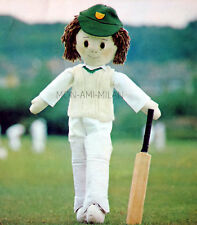 """Sewing & Knitting Pattern To Make a DOLL with CRICKET CLOTHES Soft Toy Dolly 25"""""""