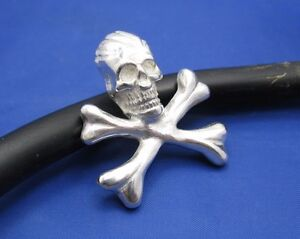 Large Solid Sterling Silver Boys Mens Skull Bones Crossbones Pendant Necklace