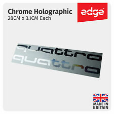 2 X Audi Quattro CHROME SILVER HOLOGRAPHIC Vinyl Car Decals Stickers