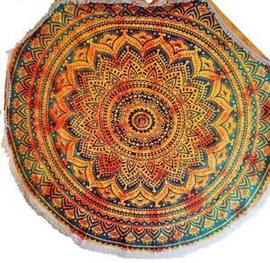 Henna Burst Round Mandala Tapestry