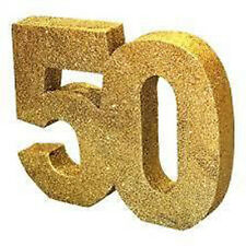50th Birthday Gold Glitter Table Decoration, Centrepiece, by CREATIVE PARTY